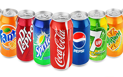A variety of soda cans just as Sprite, Fanta and Pepsi